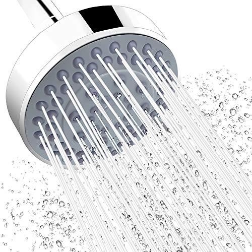 AMAZINGAQUA AM-20211 Fixed Shower Head High Pressure Rain 5-Setting Function Rainfall Showerhead, Adjustable Metal Swivel Ball Joint with Filter, 4inch Round, Chrome