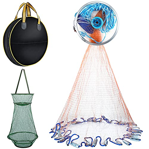 PLUSINNO American Fishing Cast net with Aluminum Ring for Saltwater Freshwater, Cast Nets for Fishing Including an Extra Fishing Cage - 4ft/5ft/6ft/7ft/8ft Radius Casting Throw Net