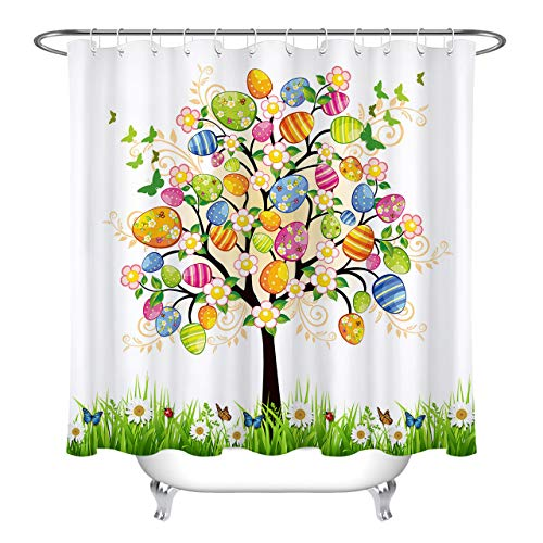 HVEST Easter Eggs Tree Shower Curtain Painted Eggs Floral...