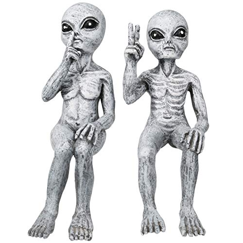 ZS ZHISHANG Outer Space Alien Dude and Babe Shelf Sitters Statue Figurine Home Indoor Garden Ornament