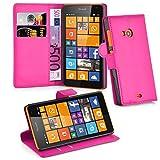 Cadorabo Hülle für Nokia Lumia 535 - Hülle in Cherry PINK – Handyhülle mit Kartenfach & Standfunktion - Hülle Cover Schutzhülle Etui Tasche Book Klapp Style