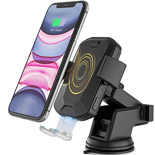 HiGoing Kabelloses Auto Ladegerät, 2 in 1 Qi 10 W Schnellladung Automatisches Spannen Kfz Induktive Ladestation Saugnapf+Lüftung Halterung Handyhalter für iPhone 8/X/Max/XR/11 Samsung Galaxy 10/9/8