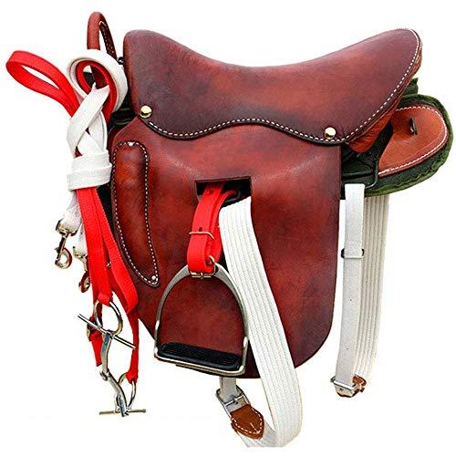 KDKDA Jóvenes de Mano de Cuero Tallado Western Pleasure Trail Mostrar Rodeo Kids Pony Caballo de Silla Tachuela Paquete Brida Coraza de Cuero Tamaño Súper Horsse una Silla Completa Retro Práctico