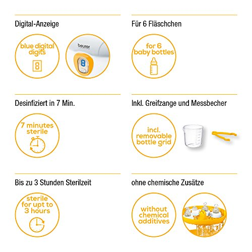 Beurer BY 76 digitaler Dampfsterilisator, desinfiziert bis zu 6 Flaschen ohne chemische Zusätze - 4