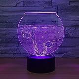 3D ilusión lámpara de escritorio Luz de Noche acuario regalo de cumpleaños para jóvenes, niñas Con interfaz USB, cambio de color colorido