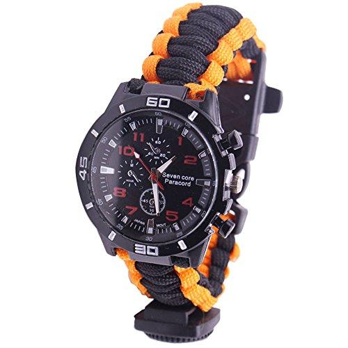 NAVIFORCE Reloj de Supervivencia Pulsera de Paracord con Brújula/Arrancador de Fuego/Silbato / Paracord de Emergencia (Naranja + Negro)
