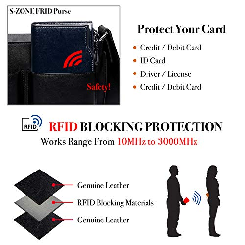 S-ZONE RFID Blocking Wallet Large Capacity Wax Genuine Leather Purse with Zipper Pocket (Coffee)