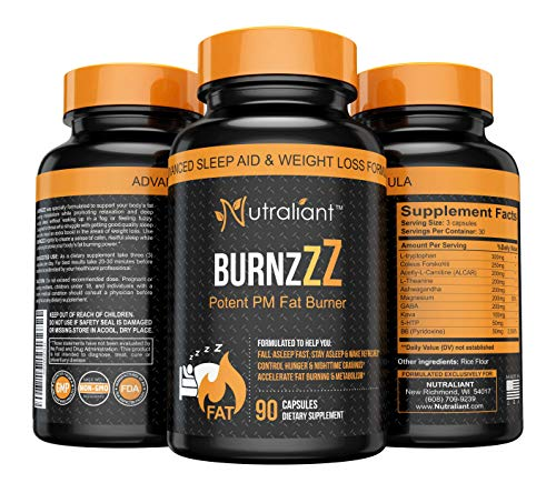 BURNZZZ PM Fat Burner- Powerful Nighttime Sleep Aid Supplement + Weight Loss + Appetite Suppressant - L-Tryptophan, 5-HTP, B6, Magnesium, ALCAR, L-Theanine + Diet Pills for Men & Women - 90 Capsules