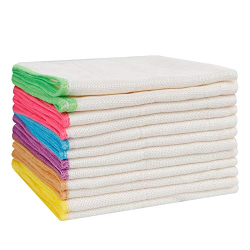 12Pcs Eco Cloth Bamboo Fiber Dish Towels Reusable Super Soft Eco-friendly...