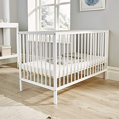 Home Source Pine Baby Cot Nursery Wooden Cotbed 3 Position, White, Height Adjustable