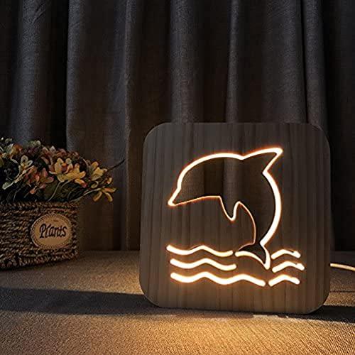 TBBA Lámpara de Mesa de Madera delfín, luz de Noche de Dibujos Animados LED con alimentación USB Adecuada, habitación en casa Junto a la lámpara Decorativa