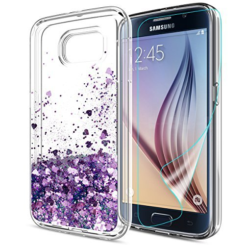 Atump S6 Case,Galaxy S6 Glitter Case with HD Screen Protector for Girl, Liquid Glitter Bling Sparkly Soft TPU Bumper Clear Quicksand Protective Phone Cover Case for Samsung Galaxy S6 Purple