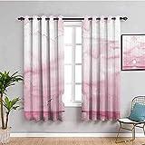 LucaSng Blickdicht Vorhang Wärmeisolierender - Rosa Himmel Meer Tiere - 234x138 cm Junge mit Mädchen Schlafzimmer Wohnzimmer Kinderzimmer - 3D Digitaldruck mit Ösen Thermo Vorhang