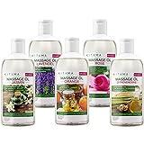 MyThaiMassage Massageöl Aroma Set 5 x 250ml - Aroma Jasmin, Rose, Orange, Lavendel, Zitronengras
