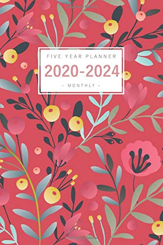 Five Year Planner 2020-2024: 6x9 Monthly Notebook Organizer Medium | 5 Year Planner - Jan 2020 to Dec 2024 | Airbrush Style Floral Design Red