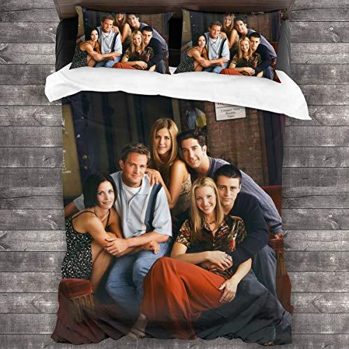 "Fri-en-dS 3-Piece Bedding Set 86"""" x70 Comforter Quilt Set Twin Size Soft Duvet Cover Set with 1 Quilt Cover 2 Pillow Shams for Teens Boys Girls"