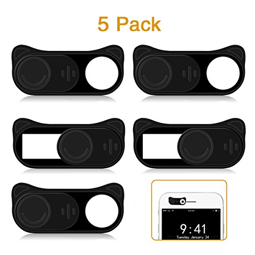 Webcam Cover Slide HITASION 5 Pack 0.027in Ultra Thin Cute Camera Cover Slide for iPhone Tablet Smartphone iPad Protecting Privacy-Black Cat