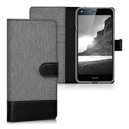 kwmobile Custodia Compatibile con Huawei Y6 II Compact (2016) - Cover a Portafoglio Porta Carte Tessuto Simil Pelle Stand - Case Magnetica