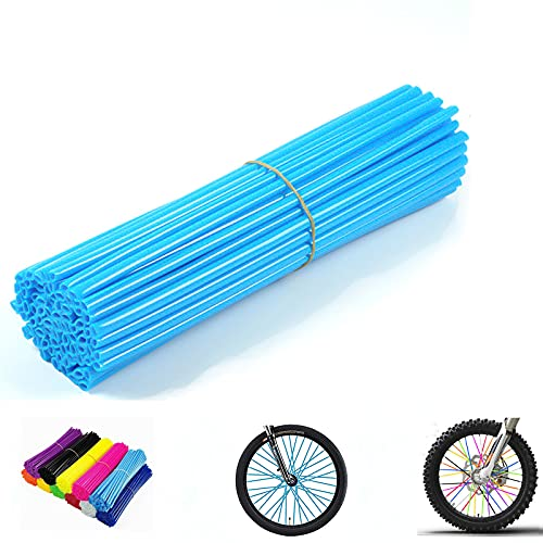 PPXIONG Bike Spoke Skins Covers: 8-21 inch Rims Protector & Decoration for Dirt Bike | Mountain Bike | Bicycle | Wheelchair | Motorcycle - 72Pcs(Light Blue)