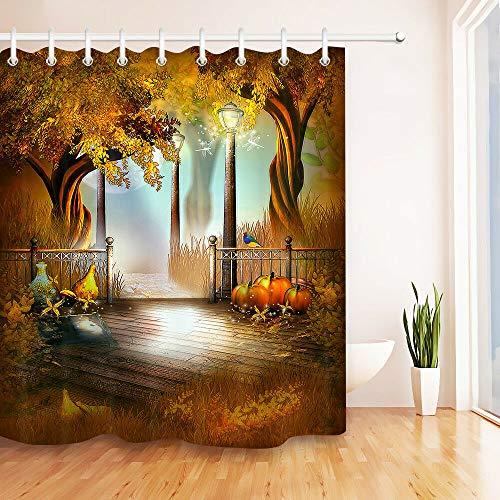 FGHJK Feen-Dschungel-Herbstbaum-Landschaft Möbeldekoration Duschvorhang wasserdicht 180x180CM