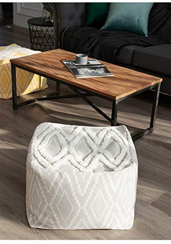 RISEON Boho Hand WovenContemporaryCotton LinenFabric Pouf Cover Footstool Ottoman Poufs Unstuffed-Square Floor Cushion Footrest Cover