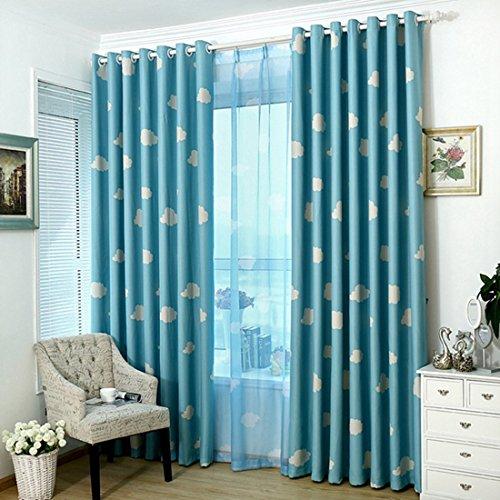 Freahap Paneles Visillos Cortina Traslúcidos con Trabilla para Ventana o Balcón Azul