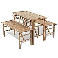 Matériau: Bambou Taille de la table: 100 x 50 x 70 cm (L x l x H) Taille du banc: 100 x 38 x 45 cm (L x l x H) La livraison comprend 1 table et 2 bancs