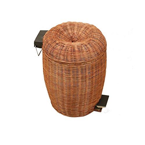 XF Poubelle -Les produits rotins faits à la main poubelle maison salon salle de bain créative avec couvercle pédale poubelle ** (taille : 5L)