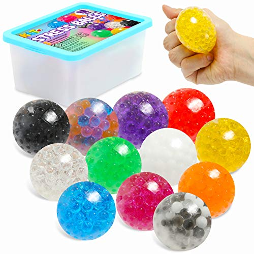 Sensory Stress Ball Set, 12 Pack Stress Relief Fidget Balls for Kids/Adults to Relax, Anxiety Relief, Decompress, Focus, Squishy Toys for Autism/ADD/ADHD, Birthday/Party Favor, Water Beads Inside