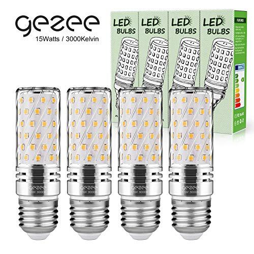 Gezee LED Silber Mais Glühbirnen E27 15W 120W Entspricht Glühbirnen Nicht dimmbar 3000K Warmweiß 1500Lm Kleine Edison-Schraube Kerze Leuchtmittel (4er-Pack)