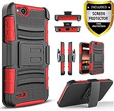 Circlemalls [Combo Holster] Phone Case Cover Compatible for ZTE Avid 4 /ZTE Fanfare 3 /ZTE Blade Vantage/ZTE Tempo X/ZTE Tempo Go/ZTE ZFive G LTE/ZTE ZFive C Z558VL, with [Screen Protector]-Red