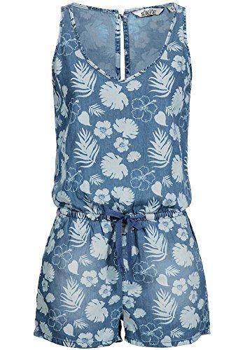 Sublevel Damen Jumpsuit Overall LSL-269 Blumen Allover-Print kurz Middle Blue S