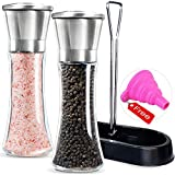 Salt and Pepper Mills with Matching Stand- Amison Stainless Steel Salt and Pepper Grinder Mill Set - 5 Grade Precision Adjustable Ceramic Rotor with Free Funnel (2 Pack Pepper Mills)