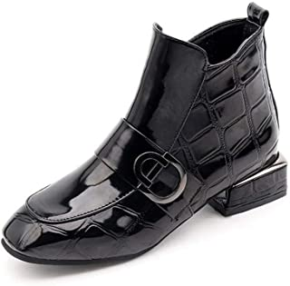 Women's Ankle Boots Winter Patent Leather Warm Round Toe Black Motorcycle Martin Boots
