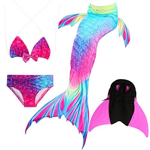 Das beste Mädchen Bikini Badeanzüge Schönere Meerjungfrauenschwanz Zum Schwimmen mit Meerjungfrau Flosse Schwimmen Kostüm Schwanzflosse - Ein Mädchentraum- Gr. 150, Farbe: A02(2)