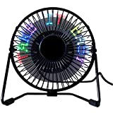 USB LED Desk Fan, SAYTAY 5 Inch Metal Frame Personal Super Quiet Table Fan, Creative LED Message Display, 360° Up and Down, As Decoration Or Holiday Gift for Home & Office(Black)