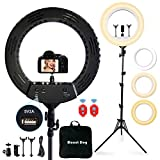 18' Ring Light with 3 Phone Holders, MOUNTDOG Led Ring Light with 79' Tripod Stand&Bluetooth Remote&Carrying Bag, Lighting Kit Dimmable for Camera/Smartphone/YouTube Makeup/Video Shooting/Vlog/Selfie