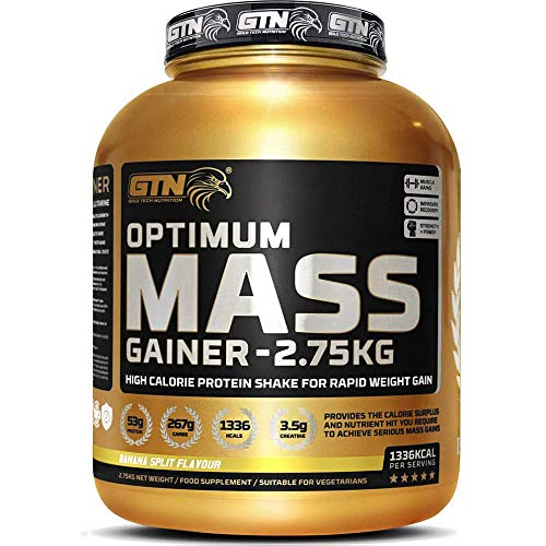 Gold Tech Nutrition Optimum Mass Gainer Protein Powder High Calorie Mass Gainer with Vitamins, Creatine Monohydrate and Glutamine. 2.75 kg. (Banana)