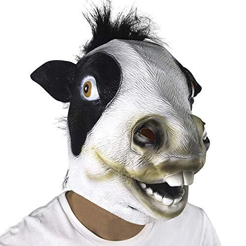 dairy masks Waylike Cow Mask Latex Animal Cows Mask For Halloween Cow Party Decorations Costumes