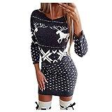 Alueeu Vestidos Mujer Navidad Sexy Suéter Elegante Impresión de Alce Otoño Invierno Sudadera Manga Larga Cuello Redondo Abrigo Deportiva Falda de Cadera Navideño Casual Jersey Pullover