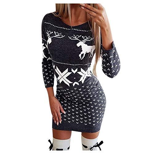 CHMORA Women's Dresses, Ladies Christmas Print Casual Dress Sweater Retro Skirt Evening Dress Black