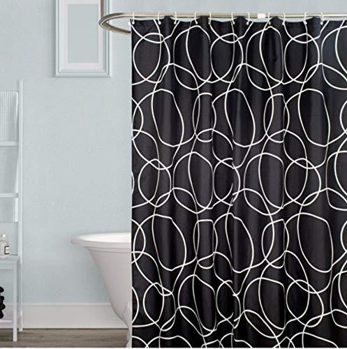 YUUWO zwart ronde dikke waterdichte douchegordijn huishoudelijke badkamer gordijnen 12 haken polyester stof douchegordijn