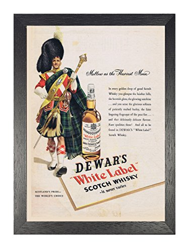 Dewars wit Label Scotch Whisky Poster Vintage Oud-gefasioneerde foto Oude Advert Print Classic