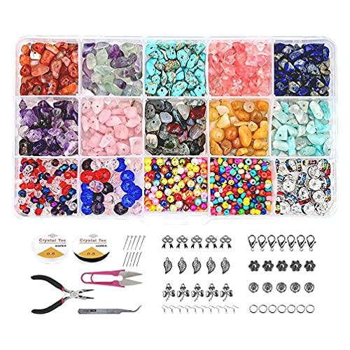 1 juego de cuentas de piedras preciosas irregulares naturales con anillos de salto ganchos para la oreja alicates cierres de langosta para hacer joyas de bricolaje accesorios para hacer joyas de