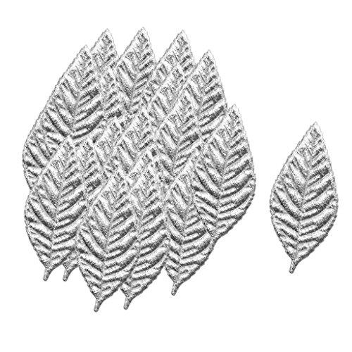 FLAMEER 100x Künstliche Blätter Tropische Pflanze Palm Blätter Blätter für Hawaiian Luau Party Jungle Strand Thema Party Tisch Urlaub Dekorationen - Silber