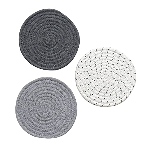 3 Pieces Potholders Pot Holders for Kitchen Cotton Row for Hot Pots and Pans, Thread Weave Hot Pads, Round Stylish Coasters, 7 Inches Placemat Set of Thickened Heat Insulation Kettle Pan Bowl Mat (D)