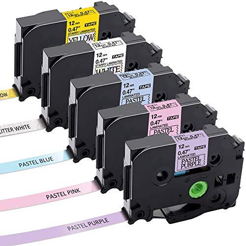 Aken kompatibel Schriftband als Ersatz für Brother P-Touch bänder TZe TZ Tape 12mm 0.47, laminated Schriftband für Brother P-touch H105 1010 E110 D200 1000 - Schwarz auf Weiß, Gelb, Lila, Pink, Blau
