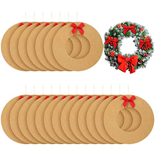 WILLBOND 21 Pieces Christmas Hanging Round Craft Wreaths Long Rope Cardboard Wreath DIY Christmas Wreath Crafts Arts for Christmas Wedding Holiday Party Supplies Decorations, 8.3 Inches
