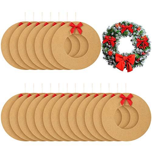WILLBOND 21 Pièces Couronnes Noël Carton Rond Artisanats Suspendues de Longue Corde Guirlande Couronne de Noël Bricolage Artisanat Arts pour Décorations de Mariage Noël, 8,3 Pouces