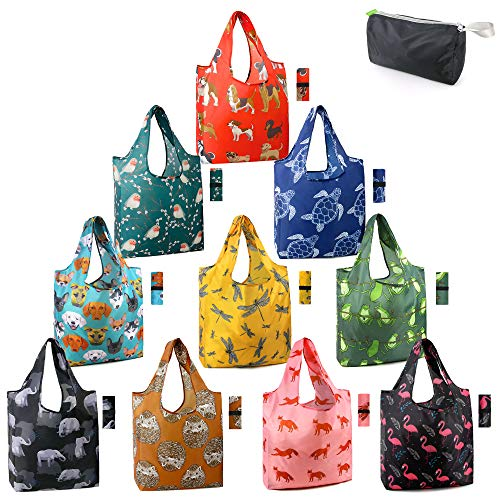 Reusable Shopping Bags Foldable Grocery Totes 10 Pack with Zipper Carry Pouch Cute Animal Shopping Bags XLarge Machine Washable Durable Reusable Bags for Groceries Dog Elephant Turtle Bird Hedgehog